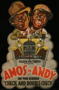 3y001 CHECK & DOUBLE CHECK die-cut 2-sided 14x21 mobile '30 great art of Amos 'n' Andy, ultra rare!