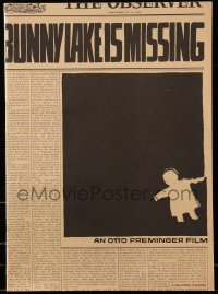 3y046 BUNNY LAKE IS MISSING pressbook '65 directed by Otto Preminger, really cool Saul Bass art!