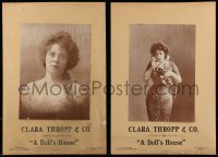3y354 DOLL'S HOUSE set of 2 13x19 stage play window cards 1899 starring Clara Thropp & Co.!