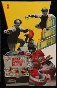 3y004 GET COORS EQUIPPED die-cut standee '88 Three Stooges beer ad, original sports nut collection!