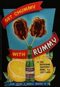 3y002 RUMMY die-cut standee '40s that refreshing grapefruit drink, and what a swell mixer it is!