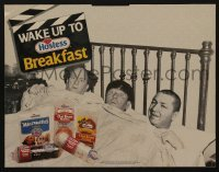 3y011 THREE STOOGES 13x17 standee '90 Moe, Larry & Curly wake up to Hostess snacks!