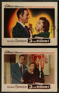 3z027 3 FOR BEDROOM C 8 LCs '52 James Warren, Steve Brodie, Fred Clark & glamorous Gloria Swanson!