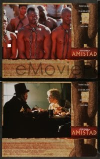 3z037 AMISTAD 8 LCs '97 Steven Spielberg directed, Morgan Freeman, Anthony Hopkins!