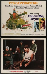 3z019 FOLLOW ME BOYS 9 LCs R76 Fred MacMurray leads Boy Scouts, young Kurt Russell, Walt Disney!