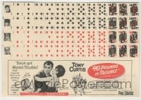 4a010 40 POUNDS OF TROUBLE herald '63 Tony Curtis, Pleshette, tiny perforated playing cards!