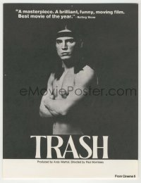 4a019 ANDY WARHOL'S TRASH herald '70 close up of barechested Joe Dallessandro, Andy Warhol classic!