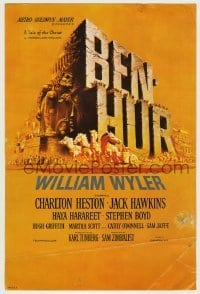 4a028 BEN-HUR herald '60 Charlton Heston, William Wyler classic religious epic, chariot art!