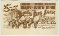 4a029 BIG JACK herald '49 art of Wallace Beery & Marjorie Main with two guns each + Richard Conte!