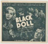 4a033 BLACK DOLL herald '37 Nan Grey, Donald Woods, a Crime Club production, cool montage!