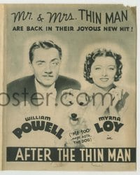 4a001 AFTER THE THIN MAN Australian herald '36 William Powell, Myrna Loy & Asta the dog are back!