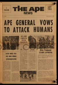 4a026 BENEATH THE PLANET OF THE APES herald '70 sci-fi sequel, cool newspaper design w/articles!