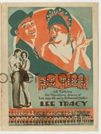 4a030 BIG TIME herald '29 Lee Tracy & Mae Clarke in a movie about making movies, cool art!