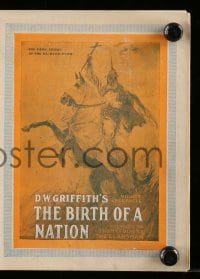 4a031 BIRTH OF A NATION herald '15 D.W. Griffith's classic post-Civil War tale of the Ku Klux Klan!