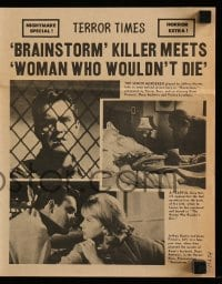 4a039 BRAINSTORM/WOMAN WHO WOULDN'T DIE herald '60s cool Terror Times newspaper design!