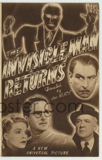 4a005 INVISIBLE MAN RETURNS Australian herald '40 Vincent Price, Hardwicke, H.G. Wells, different!