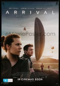 4b014 ARRIVAL advance DS Aust 1sh '16 Amy Adams, Jeremy Renner, Forest Whitaker, sci-fi image!
