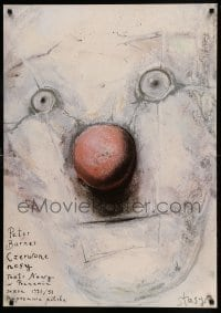 4b039 RED NOSES commercial Polish 27x38 '92 artwork of clown's face by Stasys!