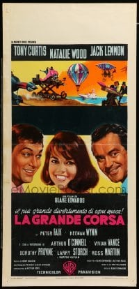 4c085 GREAT RACE Italian locandina '65 different Nistri art of Curtis, Lemmon & Natalie Wood!
