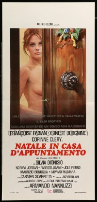 4c094 HOLIDAY HOOKERS Italian locandina '76 Ernest Borgnine, Corinne Clery, cool sexy art!