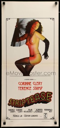 4c106 INSANITY Italian locandina '76 Striptease, Stamp, very sexy stripper Corinne Clery!