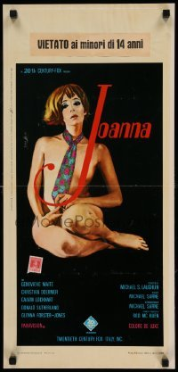 4c114 JOANNA Italian locandina '68 art of Genevieve Waite wearing only a tie by Enzo Nistri!