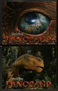 4k027 DINOSAUR 9 LCs '00 Disney, great image of prehistoric world in dinosaur eye!