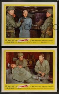 4k072 ATTACK 8 int'l LCs '56 WWII soldiers Lee Marvin, Jack Palance & Richard Jaeckel!