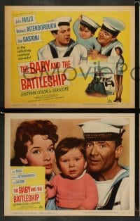 4k075 BABY & THE BATTLESHIP 8 LCs '57 English sailors John Mills & Richard Attenborough!
