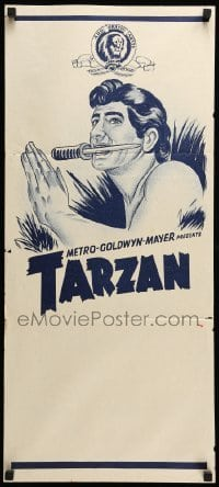 4r936 TARZAN Aust daybill 60s art of the heroes with a knife in his mouth