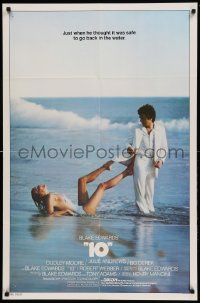 4t002 '10' int'l 1sh '79 Blake Edwards, great image of Dudley Moore & sexy Bo Derek on the beach!