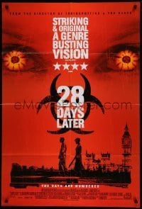 4t005 28 DAYS LATER style B int'l DS 1sh '03 Danny Boyle, Cillian Murphy vs. zombies in London!