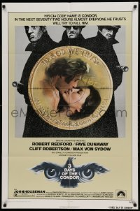 4t006 3 DAYS OF THE CONDOR 1sh '75 CIA analyst Robert Redford & Faye Dunaway!