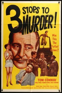 4t007 3 STOPS TO MURDER 1sh '53 Tom Conway, Mila Parely, English!