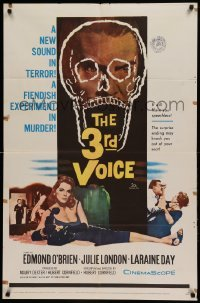 4t009 3rd VOICE 1sh '60 cool image of Edmund O'Brien in huge skull + sexy Julie London!