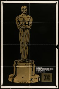 4t010 41ST ANNUAL ACADEMY AWARDS 1sh '69 cool artwork of Oscar statuette!