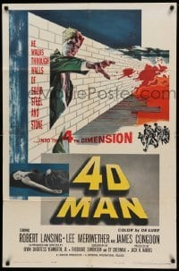 4t013 4D MAN 1sh '59 cool special effects image of Robert Lansing putting hand through metal!