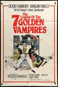 4t016 7 BROTHERS MEET DRACULA int'l 1sh '79 The Legend of the 7 Golden Vampires, kung fu horror art