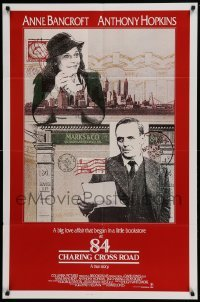 4t018 84 CHARING CROSS ROAD int'l 1sh '87 cool artwork of Anthony Hopkins & Anne Bancroft!