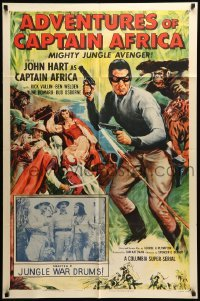 4t022 ADVENTURES OF CAPTAIN AFRICA chapter 5 1sh '55 serial, John Hart, Jungle War Drums!
