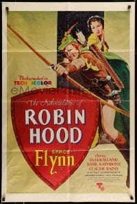 4t024 ADVENTURES OF ROBIN HOOD 1sh R76 Flynn as Robin Hood, De Havilland, Rodriguez art!