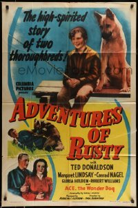 4t025 ADVENTURES OF RUSTY 1sh '45 the high-spirited story of boy and his German Shepherd dog!