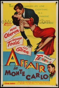 4t026 AFFAIR IN MONTE CARLO 1sh '53 sexy Merle Oberon embraced by Richard Todd!