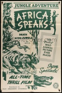 4t027 AFRICA SPEAKS 1sh R42 jungle documentary, really cool wildlife artwork!