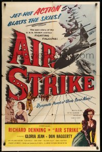 4t029 AIR STRIKE 1sh '55 Uncle Sam's dynamite Navy, jet-hot ACTION blasts the skies!