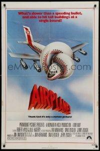4t031 AIRPLANE 1sh '80 classic zany parody by Jim Abrahams and David & Jerry Zucker!