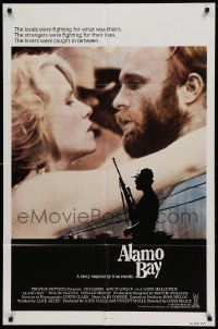 4t034 ALAMO BAY int'l 1sh '85 romantic close up of Vietnam veteran Ed Harris & Amy Madigan!
