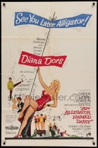 4t039 ALLIGATOR NAMED DAISY 1sh '57 artwork of sexy Diana Dors in skimpy outfit, Jean Carson!