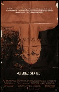 4t040 ALTERED STATES foil 25x40 1sh '80 William Hurt, Paddy Chayefsky, Ken Russell, sci-fi!