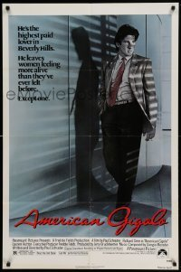 4t046 AMERICAN GIGOLO 1sh '80 male prostitute Richard Gere is being framed for murder!